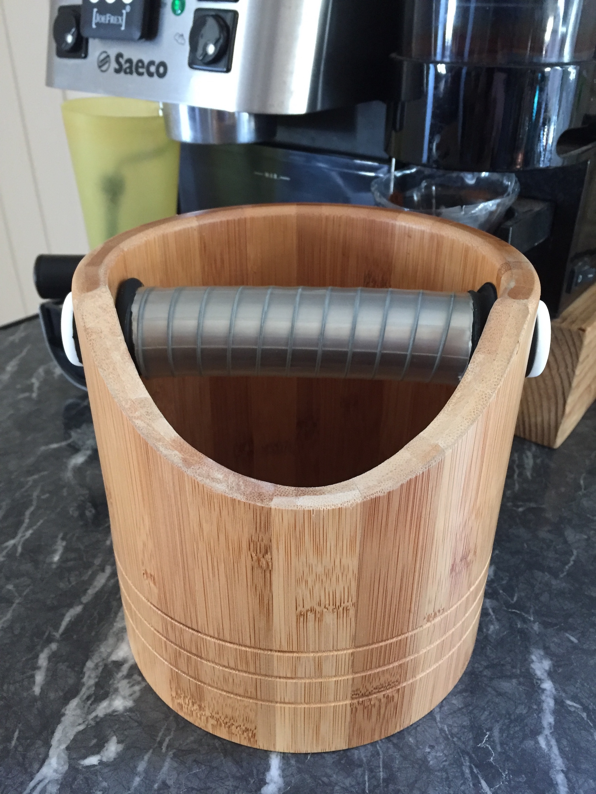 Coffee knock box from bamboo bucket